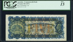 Australia Commonwealth Bank of Australia 5 Pounds ND (1927) Pick 17b PCGS Fine 15. A popular, higher denomination issue that is only infrequently offe...
