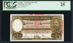 Australia Commonwealth Bank of Australia 10 Shillings ND (1934) Pick 20 PCGS Very Fine 25. After the release of this brown and white type, there were ...