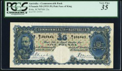 Australia Commonwealth Bank of Australia 5 Pounds ND (1933-39) Pick 23a PCGS Very Fine 35. A handsome and original example of this higher denomination...
