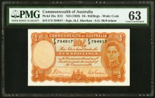Australia Commonwealth Bank of Australia 10 Shillings ND (1939) Pick 25a PMG Choice Uncirculated 63. The first variety to feature King George VI, and ...