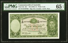 Australia Commonwealth Bank of Australia 1 Pound ND (1949) Pick 26c PMG Gem Uncirculated 65 EPQ. Although common in the lower grades, this type is qui...