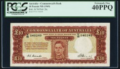 Australia Commonwealth Bank of Australia 10 Pounds ND (1949) Pick 28c PCGS Extremely Fine 40PPQ. A handsome example of this highest denomination issue...