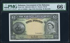 Bahamas Bahamas Government 1 Pound ND (1954) Pick 15b PMG Gem Uncirculated 66 EPQ. A pack fresh example of this scarce type, which features a split pr...