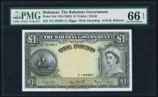 Bahamas Bahamas Government 1 Pound ND (1963) Pick 15d PMG Gem Uncirculated 66 EPQ. A beautifully executed 1 Pound note, and very desirable in Gem Unci...