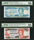 Bahamas Central Bank of the Bahamas 10; 20 Dollars L. 1974 (1984) Pick 46a; 47a PMG Gem Uncirculated 66 EPQ (2). An appealing pair of earlier Central ...