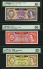 Belize Government of Belize 2; 5 Dollars 1.6.1975 Pick 34b; 35a PMG Graded Gem Uncirculated 65 EPQ; Gem Uncirculated 66 EPQ; 20 Dollars 1.1.1976 Pick ...