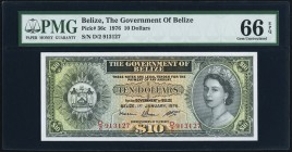 Belize Government of Belize 10 Dollars 1.1.1976 Pick 36c PMG Gem Uncirculated 66 EPQ. A stunning example of this higher denomination type. Final date ...