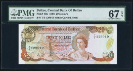 Belize Central Bank of Belize 20 Dollars 1.1.1986 Pick 49a PMG Superb Gem Unc 67 EPQ. Beautifully inked and evenly centered, this handsome original ea...