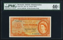 Bermuda Bermuda Government 5 Pounds 1.5.1957 Pick 21b PMG Extremely Fine 40 EPQ. The second variety of this series, and desirable with completely orig...