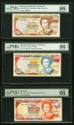 Bermuda Monetary Authority Three Graded Examples. $50 20.2.1989 Pick 38, low serial 000056; $50 12.10.1992 Pick 44a; $100 14.2.1996 Pick 45r Replaceme...