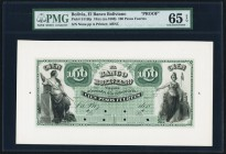 Bolivia Banco Boliviano 100 Pesos Fuertes 18_ (ca. 1868) Pick S116fp Face Proof PMG Gem Uncirculated 65 EPQ. An excellent representation with bold col...