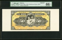 Bolivia Banco Mercantil 50 Bolivianos 10.7.1906 Pick S176fp; bp Front and Back Proofs PMG Gem Uncirculated 66 EPQ; Gem Uncirculated 65 EPQ. Excellent ...