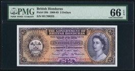 British Honduras Government of British Honduras 2 Dollars 1.5.1965 Pick 29b PMG Gem Uncirculated 66 EPQ. A handsome and choice example of this older d...