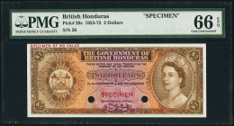 British Honduras Government of British Honduras 2 Dollars ND (1953-73) Pick 29s Color Trial Specimen PMG Gem Uncirculated 66 EPQ. A pleasing Color Tri...