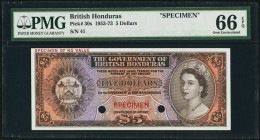 British Honduras Government of British Honduras 5 Dollars ND (1953-73) Pick 30s Specimen PMG Gem Uncirculated 66 EPQ. With brown hues complementing th...