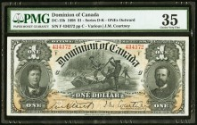DC-13b $1 1898 PMG Choice Very Fine 35. A high end circulated example of this popular design that exhibits nice color, traces of original embossing, a...