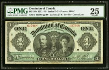 DC-18b $1 1911 PMG Very Fine 25. A crisp, mid-grade example of the popular Lord and Lady Grey note that displays nice color but it does have some spli...