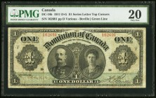 DC-18b $1 1911 PMG Very Fine 20. This earlier green-line variety featuring Lord Grey and Lady Grey is more desirable than the more common black-line v...