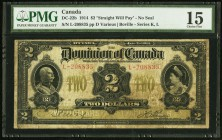 "DC-22b $2 1914 PMG Choice Fine 15. An evenly circulated example of this scarcer variety that has the Boville signature, no seal, and the straight ""Wil..."