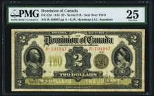 DC-22d $2 2.1.1914 PMG Very Fine 25. A handsome and pleasing example of this larger sized issue. Evenly circulated and original, with only one very sm...