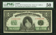 DC-23c $1 1917 PMG About Uncirculated 50. An attractive, lightly handled Series C Princess Patricia $1 that exhibits good color and ample margins.  HI...