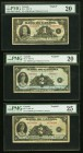 BC-1 $1 1935 PMG Very Fine 20; BC-3 $2 1935 Two Examples PMG Very Fine 20-25. An evenly circulated trio of English Text notes from the 1935 issue that...