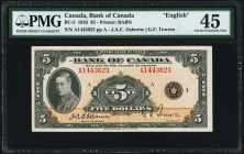 BC-5 $5 1935 English Text PMG Choice Extremely Fine 45. Lightly circulated, boldly inked and desirable in this grade. Light toning perhaps prevents EP...