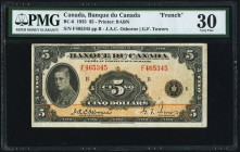 BC-6 $5 1935 PMG Very Fine 30. A handsome, lightly circulated example of this French Text variety. Of the 9,140,000 5 Dollar notes printed in 1935, on...
