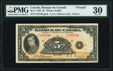 "BC-6 $5 1935 PMG Very Fine 30. Only 33 percent of the print total for the 1935 5 Dollar note was printed in French, and all have the ""F"" prefix. Scarc..."