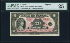BC-9b $20 1935 PMG Very Fine 25. A pleasing and original example of this popular issue, which is the first banknote to feature the future Queen of Eng...