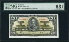 BC-25c $20 2.1.1937 PMG Choice Uncirculated 63 EPQ. A pleasing original, and scarce in the Uncirculated grades. Askew centering due to haphazard cutti...