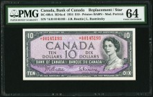 BC-40bA $10 1954 Replacement *A/D Prefix PMG Choice Uncirculated 64. A near-Gem replacement note from the rare *A/D prefix, with only 28,000 printed. ...