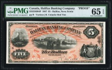Halifax, NS- Halifax Banking Company $5 1.1.1887 Ch.# 335-22-02-04P Face Proof PMG Gem Uncirculated 65 EPQ. A lovely Face Proof from this 19th century...