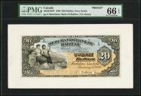 Halifax, NS- Merchants' Bank of Halifax $20 1.1.1898 Ch.# 465-20-18P Face Proof PMG Gem Uncirculated 66 EPQ. A colorful proof example depicting two se...
