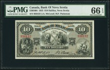 Halifax, NS- Bank of Nova Scotia $10 2.1.1935 Ch.# 550-36-04 PMG Gem Uncirculated 66 EPQ. A beautiful and choice example of this issue that is quite u...