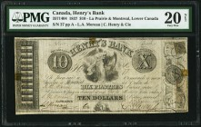 La Prairie, LC- Henry's Bank $10 27.6.1837 Ch.# 357-14-04 PMG Very Fine 20 Net. The highest, and scarcest, denomination from this short-lived issuer, ...