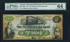 Moncton, NB- Westmorland Bank of New Brunswick $2 1.8.1861 Ch.# 800-12-04R Remainder PMG Choice Uncirculated 64. A handsome and high grade remainder, ...