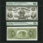 Montreal, PQ- Bank of Montreal $5 2.1.1895 Ch.# 505-44-02P Face and Back Proofs PMG Graded Gem Uncirculated 66 EPQ; About Uncirculated 55. This bank w...