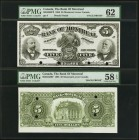 Montreal, PQ- Bank of Montreal $5 2.1.1895 Ch.# 505-44-02P Face and Back Proofs PMG Graded Uncirculated 62; Choice About Unc 58 EPQ. Another attractiv...