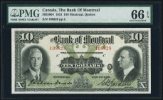 Montreal, PQ- Bank of Montreal $10 2.1.1931 Ch.# 505-58-04 PMG Gem Uncirculated 66 EPQ. An absolutely beautiful example from this Montreal bank with n...