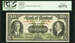Montreal, PQ- Bank of Montreal $10 2.1.1931 Ch.# 505-58-04 PCGS Gem New 66PPQ. This eye catching $10 from the last issue of large size notes from this...