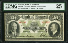 Montreal, PQ- Bank of Montreal $20 2.1.1931 Ch.# 505-58-06 PMG Very Fine 25. The $20 is a scarcer denomination from this difficult to obtain Depressio...