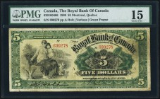 Montreal, PQ- Royal Bank of Canada $5 2.1.1909 Ch.# 630-10-04-06 PMG Choice Fine 15. A rare note in any grade, and seldom offered. Some minor splits a...