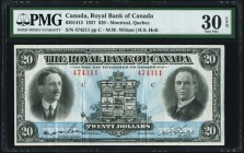 Montreal, PQ- Royal Bank of Canada $20 3.1.1927 Ch.# 630-14-12 PMG Very Fine 30 EPQ. A pleasing, mid-grade example that is benefited by completely ori...