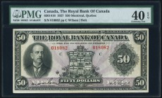 Montreal, PQ- Royal Bank of Canada $50 3.1.1927 Ch.# 630-14-16 PMG Extremely Fine 40 EPQ. Quite a pleasing example of this higher denomination type. C...