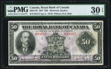Montreal, PQ- Royal Bank of Canada $50 3.1.1927 Ch.# 630-14-16 PMG Very Fine 30 EPQ. A handsome and original example of this scarce, higher denominati...
