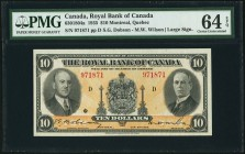 Montreal, PQ- Royal Bank of Canada $10 2.1.1935 Ch.# 630-18-04a PMG Choice Uncirculated 64 EPQ. A handsome, pack-fresh example of this final date for ...