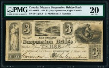 Queenston, UC- Niagara Suspension Bridge Bank $3 1.3.1841 Ch.# 535-10-08-06 PMG Very Fine 20. An interesting, original example from this small town ba...