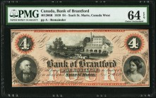 Sault St. Marie, ON- Bank of Brantford $4 1.11.1859 Ch.# 40-12-06R Remainder PMG Choice Uncirculated 64 EPQ. A pleasing remainder of this interesting ...
