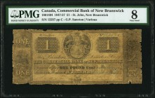St. John, NB- Commerical Bank of New Brunswick 1 Pound 1.5.1857 Ch.# 180-14-04 PMG Very Good 8. A rare, seldom offered older type, still denominated i...